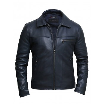 Vintage Blue Mens Leather Biker Jacket