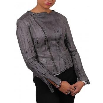 Women Grey Leather Biker Jacket - Charm