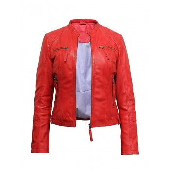 Women's Ladies Red Leather Biker Stylish Jacket Designer Look