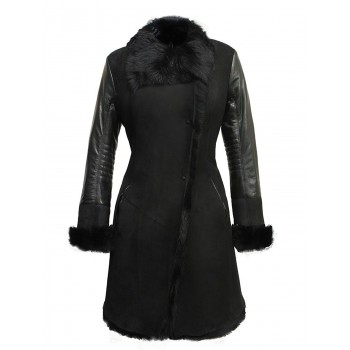Luxury Women's Winter Real Sheepskin Shearling Merino Toscana Leather Coat