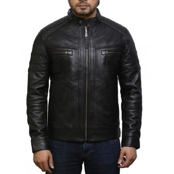 Men's  Plain Black Warm Leather Biker Jacket Vintage Retro Distressed Leather Jacket