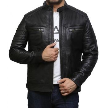 Men's  Plain Black Warm Leather Biker Jacket Vintage Retro Distressed Leather Jacket