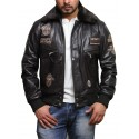 Men's Brown Cow Hide Leather Flight Bomber Jacket with Detachable Collar