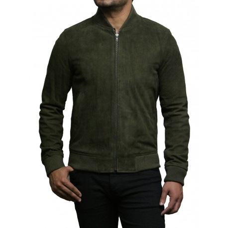 Mens Leather Jacket Vintage Retro Khaki Green Goat Suede Jacket--Sonny