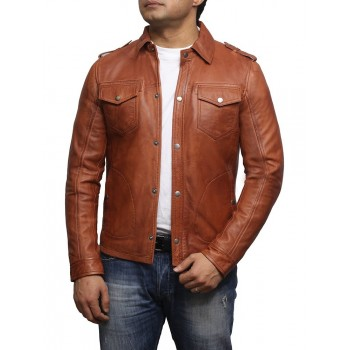 Men's Tan Leather Shirt Jacket - Sully