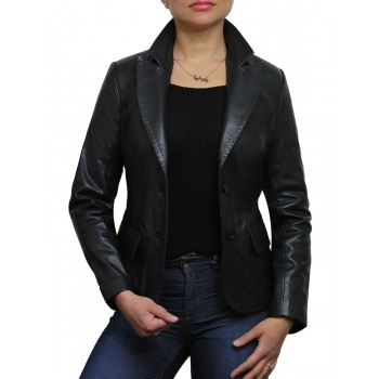 Women Black Leather Blazer Jacket - Emely