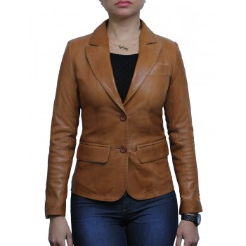 Women Tan Leather Blazer Jacket - Emely