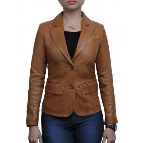 Women Tan Leather Blazer Jacket - Emely