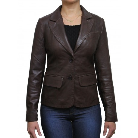 Women Brown Leather Blazer Jacket - Emely