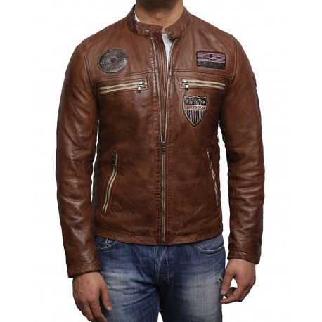 Men's Lambskin Brown Leather Superior Quality Veg Leather Designer Style