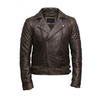 Mens Brown Leather Biker Cross Zip Brando Retro Jacket