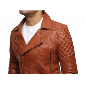Mens Tan Leather Biker Cross Zip Brando Retro Jacket