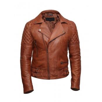 Mens Tan Leather Biker Cross Zip Brando Retro Jacket