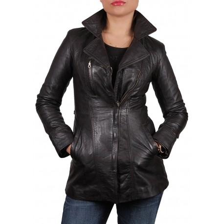 Women Brown Leather Biker Jacket - Mellisa