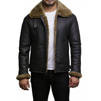 Men's Aviator Ginger Brown Real Shearling Sheepskin Leather Bomber Flying Jacket - Moscow