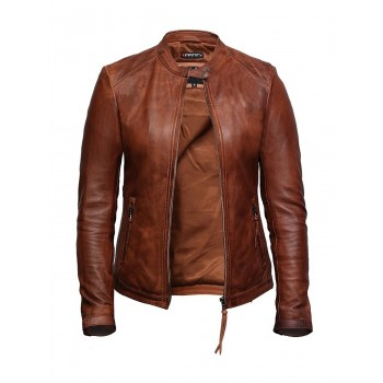 Women's Leather Biker Jacket Superior Quality Waxed Lambskin Leather