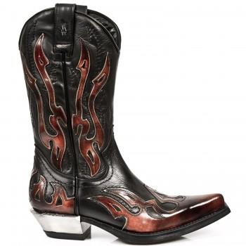 New Rock Mens Black Leather Biker Steel Heel Metallic Boots M.7921-S2