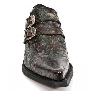 New Rock Mens Leather Metallic Biker Unisex Shiny Boots - M.7960-s5