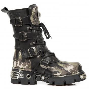 New Rock Black Leather Dashing Fire Print Metallic Biker Boots - M-591-S15