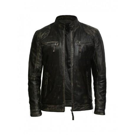 Men's Rubb Off Lambskin Genuine Leather Biker Jacket