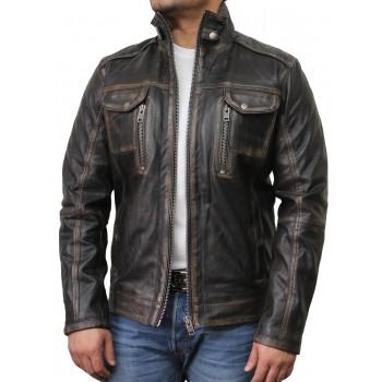Mens Black Biker Leather Jacket-Allan