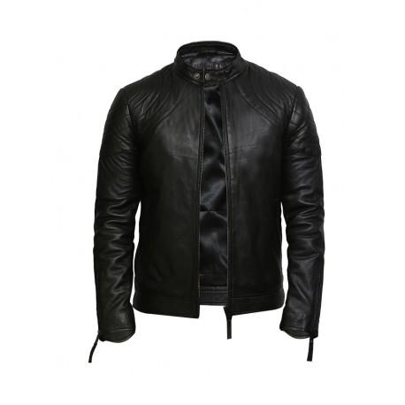 Men's Leather Jacket Black Distressed Leather Biker Jacket