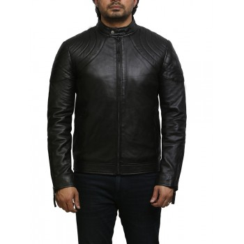 Men's Leather Jacket Black Distressed Leather Biker Jacket
