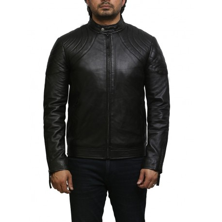 Brandslock Mens Genuine Leather Biker Jacket  Superier Cowhide Sale