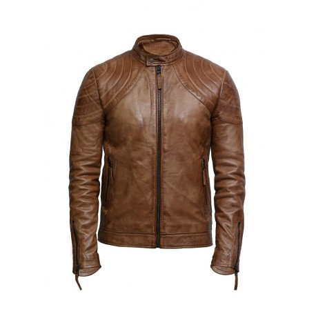 Men's Leather Jacket Tan Distressed Leather Biker Jacket