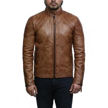 Men's Leather Jacket Tan Distressed Leather Biker Jacket