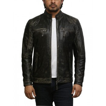 Men's Distressed Leather Biker Jacket Black Waxed Leather Jacket