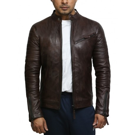 Men's Top Quality Brown Real Leather Vintage Biker Jacket