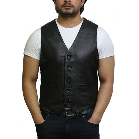 Mens Leather Nappa Leather Vintage Vest