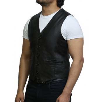 Vintage Mens Black Real Lamb  Nappa Leather Vest