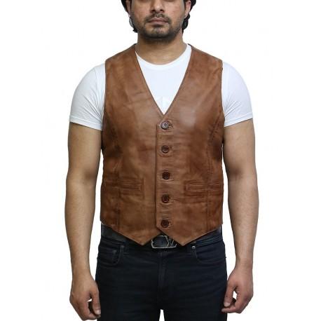 Mens Leather Nappa Leather Vintage Vest