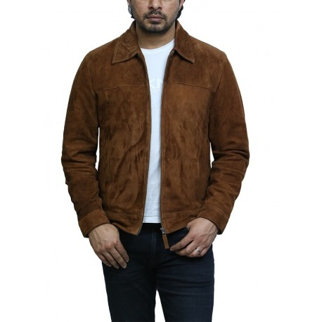 Brandslock Men's Harrington Suede Tan Leather Biker Jacket