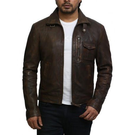Brandslock Men's Brown Lambskin Leather Vintage Jacket