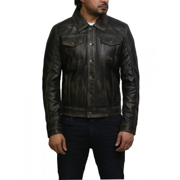 Brandslock Mens Top Quality Black Vintage Real Leather Biker Studed Jacket