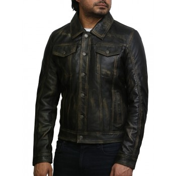 Brandslock Mens Top Quality Black Vintage Real Leather Biker Studed Jacket