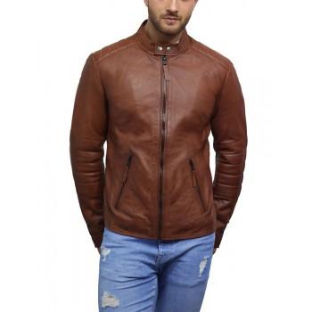 Brandslock Men Leather Biker Jacket Genuine Lambskin Vintage