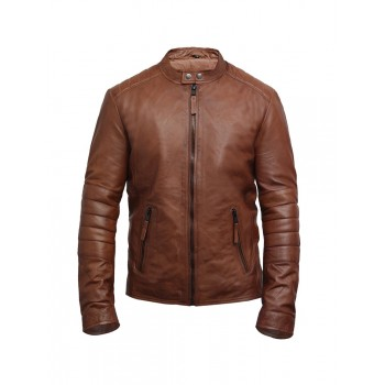 Men's Tan Lambskin Leather Biker Jacket Vintage