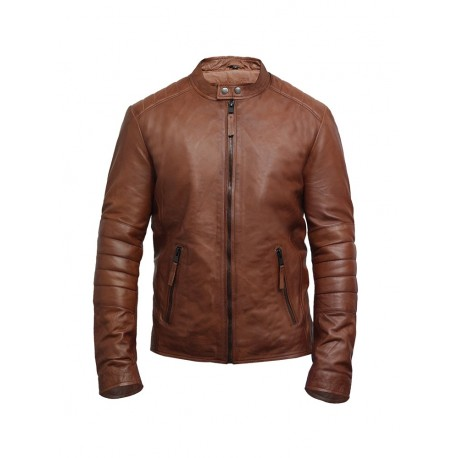 Brandslock Men Leather Biker Jacket  Genuine Lambskin Vintage