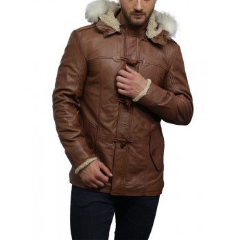 Men's Tan Sheepskin Leather Biker Jacket Long Coat