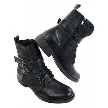 Men's Leather Punk Ankle Boots Black