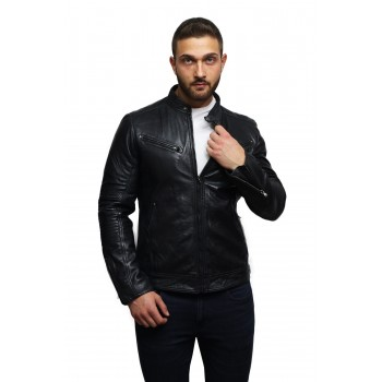 Men's Black Lambskin Genuine Leather Biker Jacket Designer Look