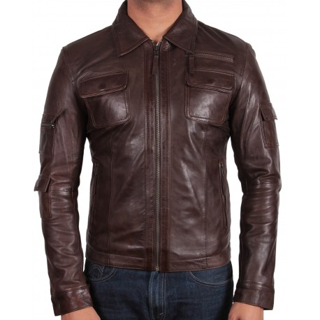 Men's Brown Leather Jacket - Hazard