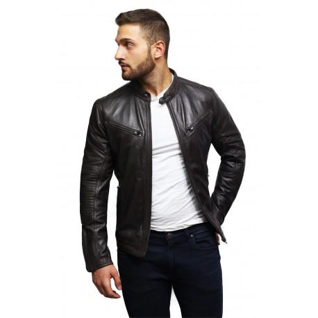 Men's Black Lambskin Genuine Leather Biker Jacket Designer Look