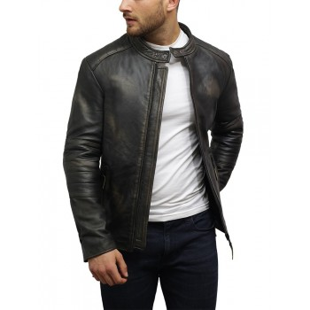 Men's Leather Biker Jacket Genuine Lambskin Vintage