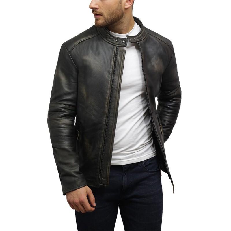 Mens Leather Jacket Motorcycle Real Lambskin Biker Coat SA35