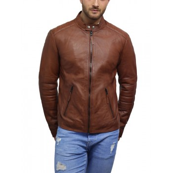 Men's Genuine Lambskin Leather Biker Jacket Vintage
